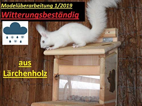Arbrikadrex XXXL Eichhörnchenfutterhaus WITTERUNGSBESTÄNDIG LÄRCHENHOLZ WETTERFEST Eichhörnchen Haus Kobel zum aufhängen und Stellen Futterstation