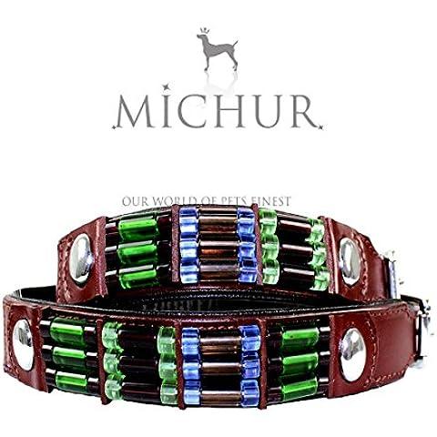 MICHUR Cherry, collari per cani, collari in pelle per cani, Collare di cane con rivetti rotondi e perle belle, colore marrone, cuoio, Disponibile in varie misure