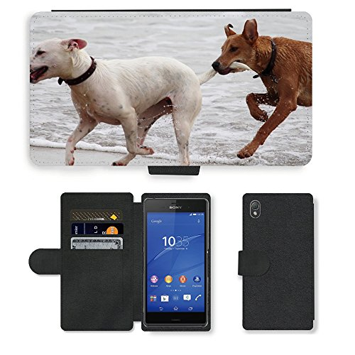 Just Phone Cases PU LEDER LEATHER FLIP CASE COVER HÜLLE ETUI TASCHE SCHALE // M00421764 Hunde Stöckchen zu spielen Beißen Romp // Sony Xperia Z3 D6603 D6633 D6643 D6653 D6616