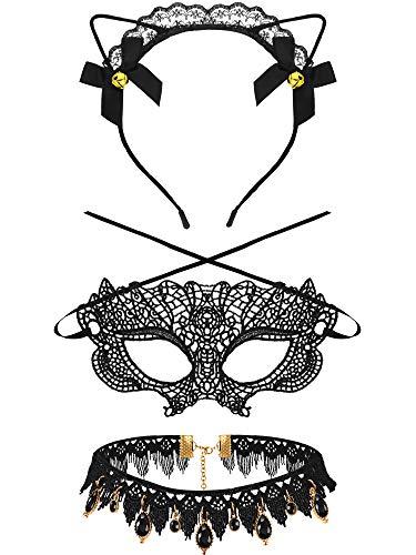 Katze Adult Kostüm Halloween - WILLBOND 3 Stücke Halloween Kostüm Satz mit Katzen Ohren Stirnband, Spitze, Halsband Halsketten und Spitzen Maske für Halloween Partys