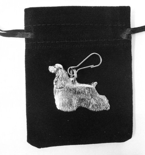 American Cocker Spaniel Silver Zip Pull with Gift Bag