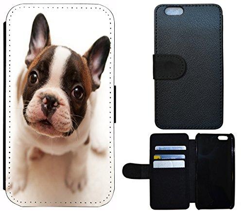Flip Cover Schutz Hülle Handy Tasche Etui Case für (Apple iPhone 4 / 4s, 1419 Französische Bulldogge Welpe Hund) 1419 Französische Bulldogge Welpe Hund