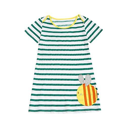 Baby Mädchen Kleidung Set JYJM lässig Mädchen Sommer Mode Mädchen Rock Bluse Kinder-Cartoon kurzärmelig Langes Kleid Kurzarm Weste Jacke Anzug Tanzrock Leistung Kleidung (Größe: 6Jahre, Grün) (Robe Bett-jacke)