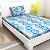 Indiana Home 100% Cotton Single Bed Sheet With 1 Pillow Cover|Blue|Geometric