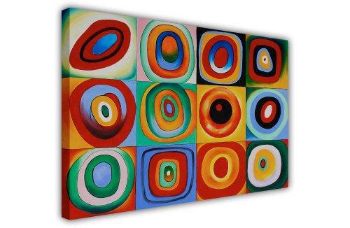 Wassily Kandinsky Farbstudie Quadrat Masterpiece Leinwand Art Wand Bilder Foto Prints Raum Dekoration Classic Fotos Ölgemälde, canvas holz, 8- A1 - (76 x 60 cm)
