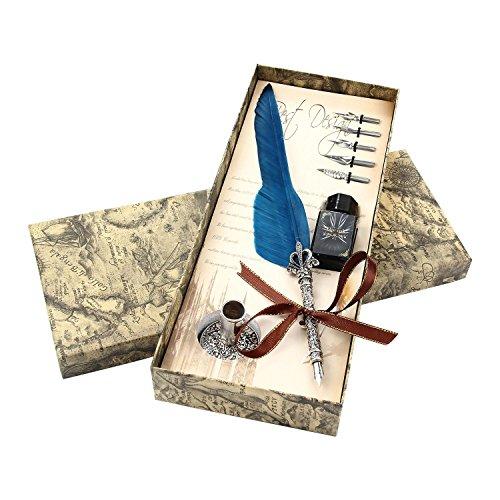 Pawaca vintage Feather Pen Ink set writing Quill penna inchiostro metallo Nibbs calligrafia Feather penna set regalo per matrimonio Natale, Blue, taglia unica