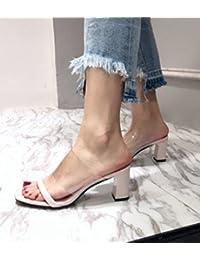 SCLOTHS Verano Chanclas Para Mujeres Tacón Alto Transparente Zapato Abierto  desgaste exterior Asakuchi gruesas con Albaricoque 47ba59adf7e3