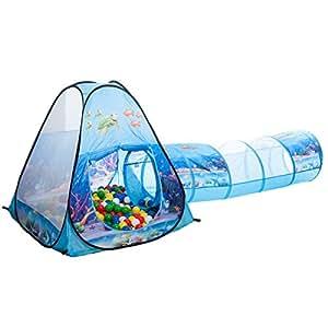 unterwasserwelt tunnel b llebad pop up zelt mit 150 bunten b llen spielzeug. Black Bedroom Furniture Sets. Home Design Ideas