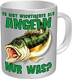 Angeln, nur was für Männer! - Angler Tasse - Fisch am Haken - Fun Kaffeetasse - einzeln im Geschenk Karton - zum Geburtstag