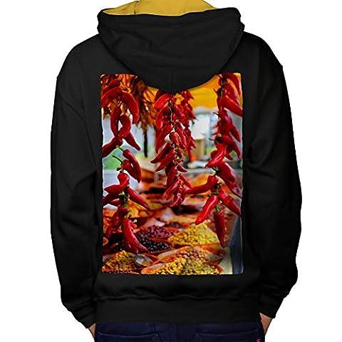 Red Hot Spicy Pepper Men M Contrast Hoodie Back | Wellcoda