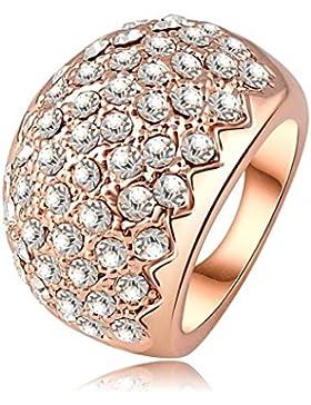 AMDXD Schmuck Rosegold Vergoldet Damen Ringe Sägezahn Zirkonia Fingerring