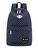 #7: Bonmaro Polka Dot Navy Blue Water-Resistant Casual Backpack
