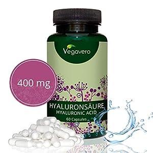510JJ%2BxTxnL. SS300  - Hyaluronic Acid Vegavero® | Highly dosed - 400mg | 60 Capsules | 100% Additive-Free & Vegan | 800-1500 kDa | Skin…