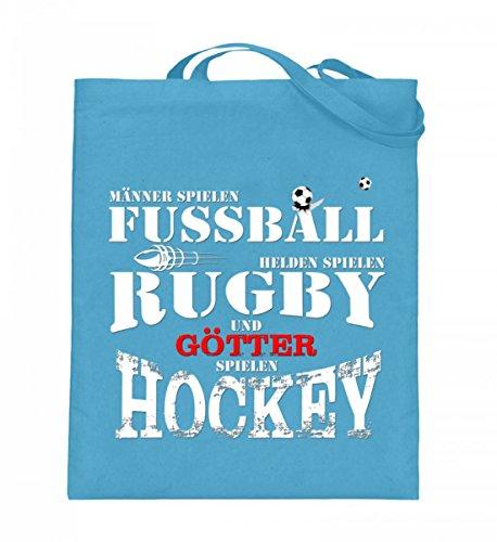Hochwertiger Jutebeutel (mit langen Henkeln) - Fussball,Rugby,Hockey Hellblau