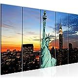 Bilder Freiheitsstatue New York Wandbild 150 x 60 cm Vlies - Leinwand Bild XXL Format Wandbilder Wohnzimmer Wohnung Deko Kunstdrucke Blau 5 Teilig - MADE IN GERMANY - Fertig zum Aufhängen 603956a