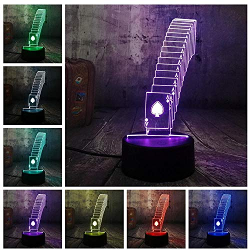 Pbbzl Poker Playing Cards Dice Game Party 3D Night Light Led Table Desk Sleep Lamp Home Decor Teens Toy Birthday Christmas Gift