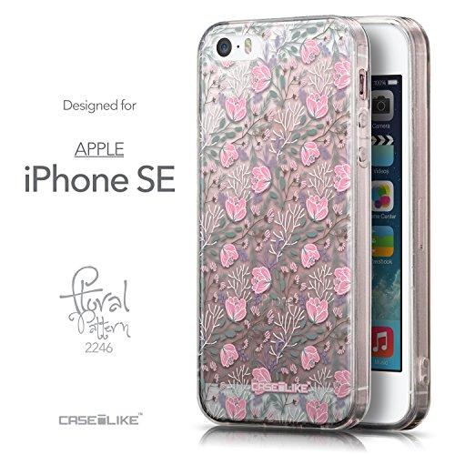 CASEiLIKE Roses et Plumes Beige Vintage 2251 Housse Étui UltraSlim Bumper et Back for Apple iPhone SE +Protecteur d'écran+Stylets cristal (couleur aléatoire) 2246