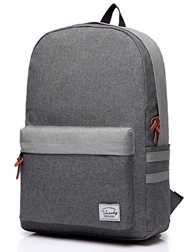 Vaschy Retro-Rucksack Casual Klassischen Backpack Leichten Daypack 15in Laptop Grau (Klassische Brieftasche Hipster)