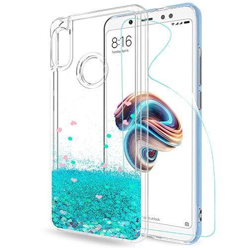 LeYi Funda Xiaomi Redmi Note 5 Silicona Purpurina Carcasa con HD Protectores de Pantalla, Transparente Cristal Bumper Gel TPU Fundas Case Cover para Movil Redmi Note 5 Pro ZX Transparente