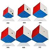 OJIN MoYu MOFANGJIAOSHI Aula DE Cubo Paquete de Cubo de Velocidad 2x2 3x3 4x4 5x5 6x6 Rompecabezas de Cubo mágico de 7x7 Juego de Cubos con Embalaje de Regalo + Seis trípodes de Cubo