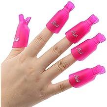 ANKKO 10pcs Reutilizables uñas herramienta de removedor Clips Gel UV Esmalte de uñas Remover Herramientas (Rosa profundo)