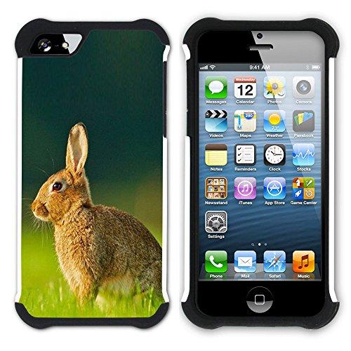Graphic4You Niedlich Niedlich Kaninchen Hase Tier Design Hart + Weiche Kratzfeste Hülle Case Schale Tasche Schutzhülle für Apple iPhone SE / 5 / 5S Design #6