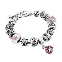 Gluckliy DIY Crystal Beads Bracelet Bangle Snake Chain Charm Strand Bracelet for Women (Pink)