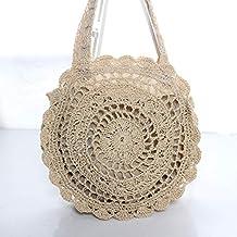 Ldyia Moda Cuerda de Papel Crochet Flor Grande Bolsa de Paja Bolsa de Playa Bolso Tejido