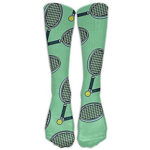 Benutzerdefinierte lustige Strümpfe Tennisball und Schläger Vent Crew Mädchen Jungen Knie lange Socken Reisen atmungsaktiv