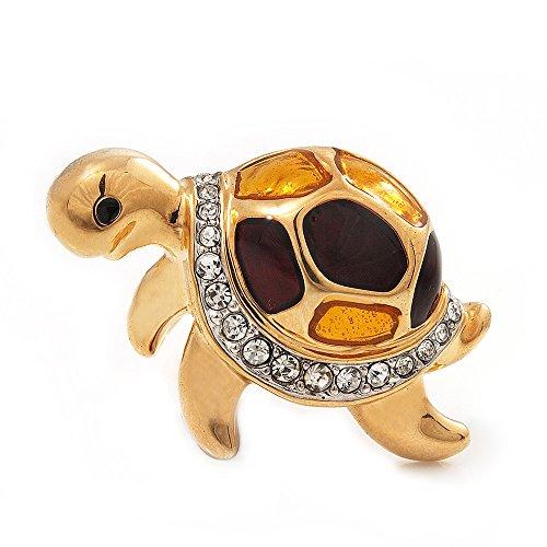 Small, motivo: tartaruga, smaltata, con cristalli, a forma di spilla In metallo placcato oro