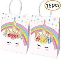 yizeda Unicorn Party Favor Bags - Set of 16 Decorated Paper Bags for Treats and Goodies(2 designs)