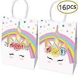 Borse per Favore di Unicorno - Set di 16 Sacchetti di Carta Decorati per dolcetti e Caramelle (2 Disegni)