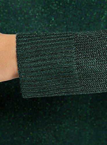 oodji Collection Donna Maglione con Lurex e Parte Posteriore Allungata Verde (6E00X)