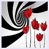 BHXINGMU Benutzerdefinierte Wandbild Tapete Schwarz-Weiß Gestreiften Blüten Moderne 3D-Abstrakte Geometrie Raum Wandmalerei Wohnzimmer Tapeten 100 Cm (H) X 150 Cm (W)