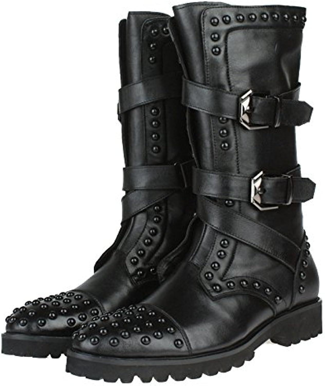 DHFUD Primavera Y Otoño Inglaterra Botas Altas Moda Remache Zapatos De Los Hombres  -