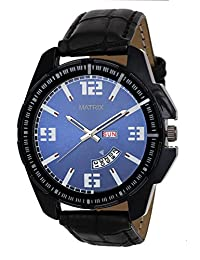 Matrix Silvermine Analog Blue Dial Wrist Watch Day And Date Display For Men & Boys- (DD-19)