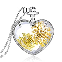 Souarts Womens Silver Tone Color Heart Shaped Dried Pressed Flower Charm Pendant Necklace 60cm (Yellow)