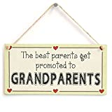 The best parents get promoted to Grandparents - Gift Love Heart Frame Sign