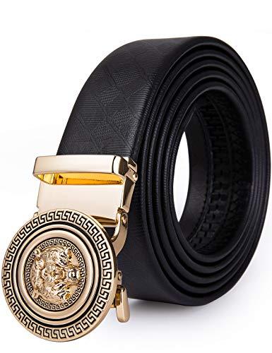 Cinturón de piel de vacuno para hombre, cinturón de animal con impresión 3D, hebilla de trinquete automática, cinturón negro sin agujeros, diseño vaquero y caja de regalo Negro Negro a Large