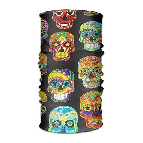 Qinckon Sugar Skull Unisex Sport Scarf Headbands Bandana Outdoor Sweatband Headwear Flower Sugar Collection