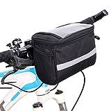 3.5L Lenkertasche, Moresave Wasserdichte Fahrradtasche Korb mit Transparent PVC-Beutel und Reflektierendem Streifen, Schwarz