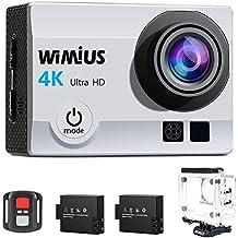 Action Cam, WiMiUS Fotocamera Subacquea 4k HD 16MP Action Camera WIFI, Videocamera Impermeabile con Telecomando 2.4G + 2 Batterie + 25 accessori (Argento)