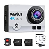 Action Cam, WiMiUS Fotocamera Subacquea 4k HD 16MP Action Camera WIFI, Videocamera Impermeabile con Telecomando 2.4G + 2 Batterie + 25 accessori (Argento)