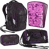 Satch by Ergobag Purple Hibiscus Pack 4er Set Schulrucksack + Sporttasche + Schlamperbox + Tripleflex Lila