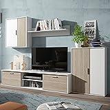 Soggiorno parete attrezzata mobile porta TV bianco legno arredo salotto S70450 immagine