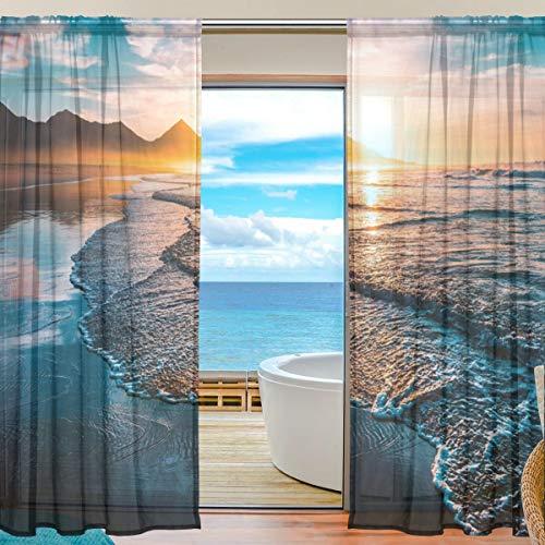 """DOSHINE Dowshine Vorhang für Meerblick, Sommer, Strand, Sonnenuntergang, Fenster, für Jungen Mädchen, Wohnzimmer, Badezimmer, Schlafzimmer, 139,7 x 198 cm, 2 Paneele, Polyester, Multi, 55\""""x 78\"""""""