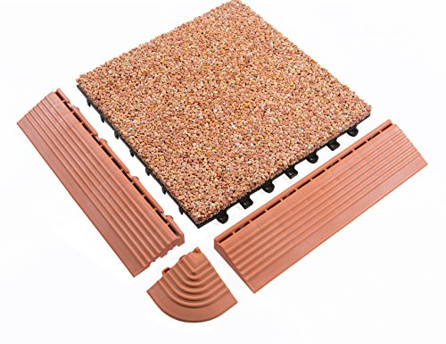 BodenMax® Kieselstein Click Bodenfliesen Set 30 x 30 cm Terrassenfliesen Kiesel Terassenplatte Stein Fliese Pebble Flussstein orange braun Klickfliesen Mosaik Gold (Eckstücke (14 Stück))