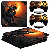 CIVIQ ARRKEO Shadow of The Tomb Raider Vinyl Cover Decal PS4 Pro Skin Sticker for Sony Playstation 4 Pro Console & 2 Controllers Gift