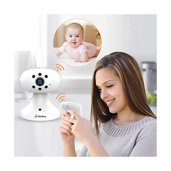 """MiniBoss Baby Monitor with Camera Video Audio Monitor 3.5"""" LCD Screen Temperature Sensor Night Vision Lullaby Two-Way Talk  【Wireless & Secure Connection】The baby monitor equipped with 2.4GHz digital frequency provides security and interference-free connection without any network access. 【Upgraded Camera & VOX Function】The video baby monitor offer high definition and stable audio video streaming to last 7 hours per fully charged. It covers a long distance transmission range of up to 960 feet, and expandable up to 4 cameras for simultaneous monitoring. 【Two-way Talk & Lullabies】The audio baby monitor has advanced built-in microphone and speaker for clear two-way audio conversations between the wireless monitor and camera sides. Allows you to talk back promptly or play lullabies to soothe baby when she is crying. 2"""