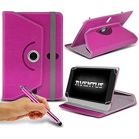 Aventus Asus VivoTab Smart ME400C 10.1 Pollici Fucsia Custodia per Tablet di Alta Qualita in Ecopelle 360 Gradi di Rotazione Girevole con Stylus Penna